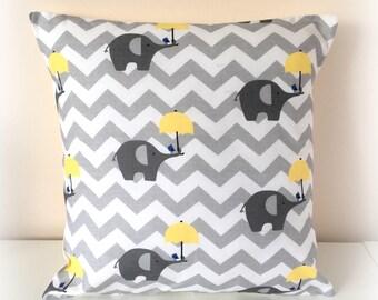 """Grey Nursery Cushion Cover, Chevron Elephant Cushion Cover , Grey Yellow Nursery,New Baby Gift,  Nursery Pillow 12"""" & 16"""""""