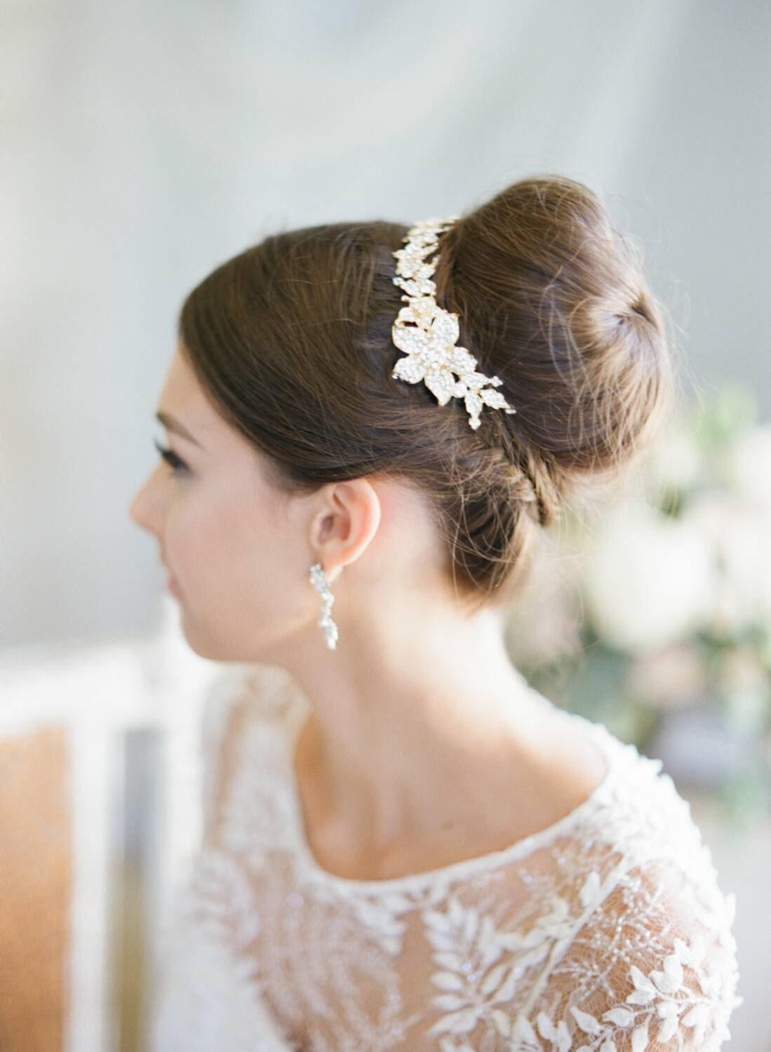 swarovski bun wrap bridal hair vine crystal wedding hair