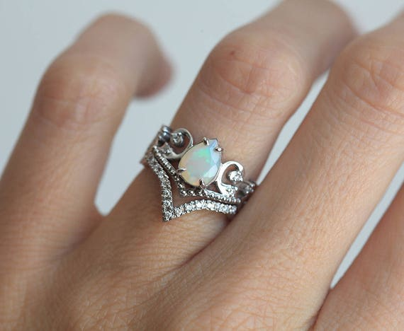 Amazing Opal Wedding Ring Set Opal Engagement Ring Set Vintage
