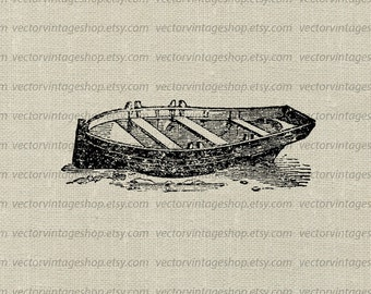 Boat Vector Graphic Instant Download, Antique Row Boat  Illustration Seaside Decor Clip Art, Printable Graphic jpg png eps WEB1750BA