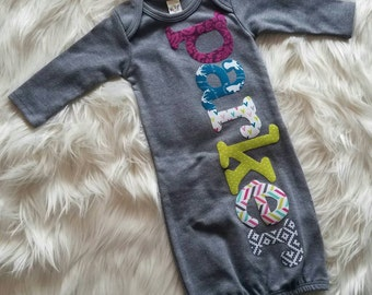 Personalized Newborn Gown Girl, Hospital Going Home Outfit, Baby Girl Gift, Deer Head, Jewel Tones, Newborn Outfit, Personalized Gift