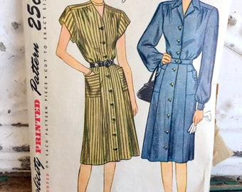 1940s Simplicity Dress Sewing Pattern Plus Size 20.5 Bust 39
