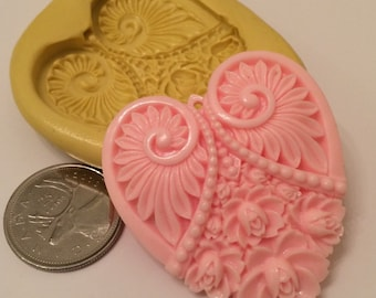 Fancy Large Heart Silcione Mold