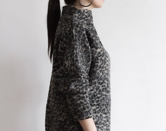 Grayish Brown Raised Neck Sweater | 100% Wool