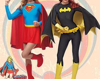 Simplicity 1036 Misses' Supergirl and Batgirl Costumes, D.C. Comic Heroes, Women's Halloween Costumes, Women's Superhero Costumes