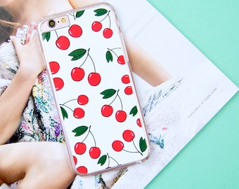 Cherry Cherries Berry Berries Pattern Custom Made iPhone 5/5S/SE 6/6S 7 8 Plus + X Samsung S6 S7 S7 Edge S8 Phone Case/Cover UK!