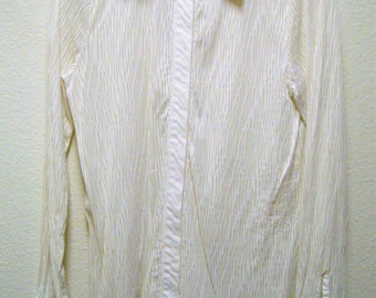 CHICO'S Women's White Long Sleeve Button Down Semi Sheer Casual/Business Blouse Size Chico's 0