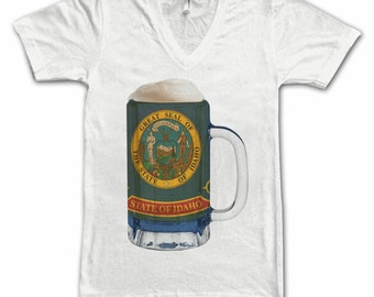Ladies Idaho State Flag Beer Mug Tee, Home State Tee, State Pride, State Flag, Beer Tee, Beer T-Shirt, Beer Thinkers, Beer Lovers Tee