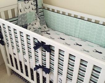Deer Crib Bedding. Boy Crib Bedding. Woodland Baby Bedding. Arrow Crib Skirt. Buck Crib Quilt. Nursery Decor. Crib Bumpers. Deer Crib Sheet.