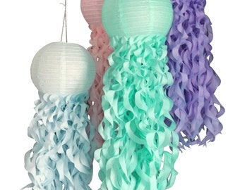 Mermaid Party Decorations,Pastel Jellyfish Paper Lanterns, Under the Sea Party, Birthday Party Decor, Nursery Decor, Set of 4