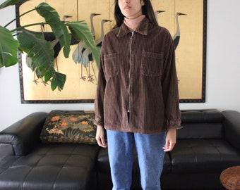90s Corduroy Brown Zip Up Jacket M/L