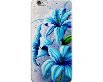 iPhone Case cellphone blue lily flower