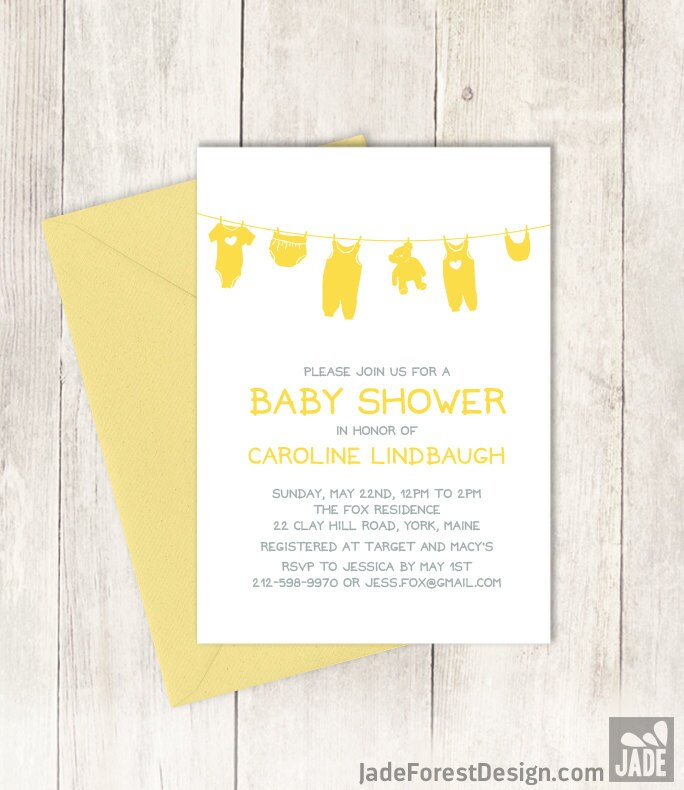Yellow Baby Shower Invitation DIY / Gender Neutral Baby Shower ...