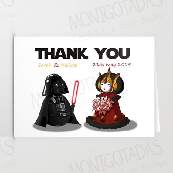 Wedding Dance Star Wars: Items Similar To Thank You Card Star Wars / Set Of Thank