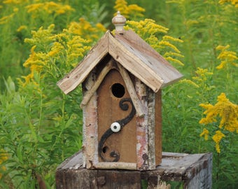 Birdhouse Handcrafted from the White Mountains of New Hampshire Birch Antique Knob Metal Ornament