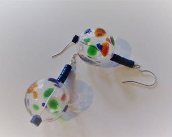 """Earrings with Lapis hollow glass bead """"bubbles""""/casual gemstone Jewelry/playful gift for women"""