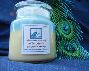 Cake and Buttercream Frosting Scented Soy Candle 20 oz Apothecary Jar Blue and Yellow