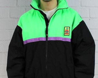 Mens Vintage 80s 90s Ocean Pacific Neon Green Black Colorblock Surf Snow Beach Windbreaker Puffer Jacket