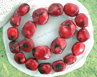 1 Strand ~ 18 to 26mm Bamboo Coral Beads, Red Coral Beads, Large Coral Beads, Sliced Tumbled Rustic Coral Beads SP-347-2