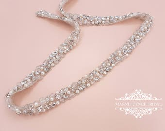 Pearl bridal belt, pearl belt, Bridal belt, thin bridal belt, thin pearl sash, bridal sash, sash belt, wedding belt, rhinestone sash, JOLIE