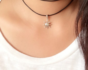 Leather choker necklace / wrap leather necklace / sun pendant necklace / layered choker