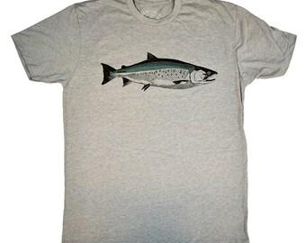 COHO SALMON - Heather Grey - T-shirt - Tagless - Fishing - Fish - Dad - Thank You - West Coast - Alaska - California - Oregon - by uroko -