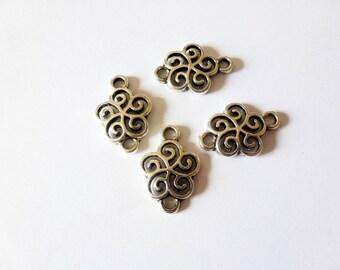 4 connectors 20 * 13mm stylized flower antique silver (FOCA01)