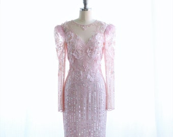 Vintage 80s/90s Glam Sequins & Silk Dress ~ Pink Bohemian Bridal ~ Open Back Long Sleeves XS/S
