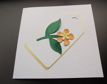 Gift Tag Birthday Card - with flowers and foliage