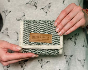 Hemp Wallet, hemp purse green zigzag