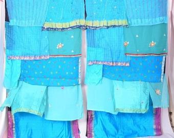 Boho Gypsy Sari Curtains Boho Decor Upcylced Bohemian Gypsy Curtains saree blue floral multi color C305