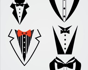 Tuxedo Bow Tie ,Tuxedo, Formal, Bib, Bow Tie, SVG and Silhouette Studio cutting file, Instant Download