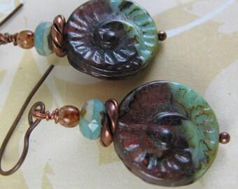 copper czech earrings, SEASNAIL shape, rustic boho style, green multicolor czech picasso glass