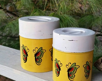 M S Japan Yellow Metal Canister Set with Butterflies Retro Kitchen