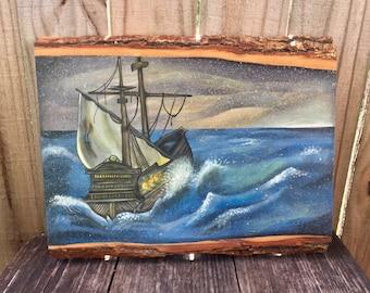Lost At Sea III - Hand-painted Acrylic on Wood Plank