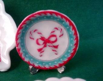Dolls House miniature Christmas 2 candy cane ceramic plate