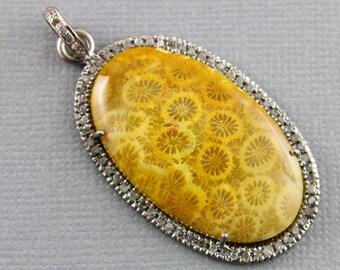 Pave Diamond Pendant, Diamond Fossil Coral Pendant, Pave Diamond, Diamond Pendant, Fossil Coral Pendant, Fossil Coral. (DCH/OT/217)