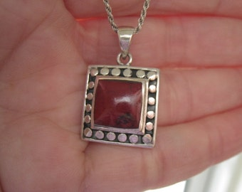 "Sterling Silver Red Died Howlite Dotted Square Pendant Necklace 19"" (1054/3)"