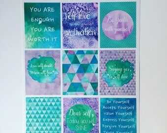Self love- Planner/journal stickers (full boxes)