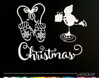 Cuts scrapbooking Christmas snowman snow Word christmas gift bow embellishment album mitten glove ice skates