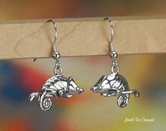 Sterling Silver Chameleon Earrings Pierced Fishhook Earwires Solid 925