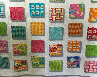 Bright & Summery, Colorful and Vibrant, Shadow-Effect Baby, Toddler, or Lap Quilt