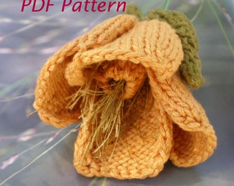 PDF Knit Flower Pattern - California Poppy Knit Flower