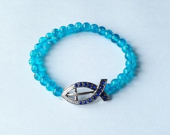 Turquoise Christian Ichthus bracelet
