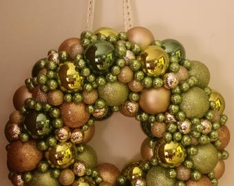 Green and Gold Ornament Wreath