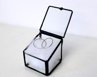 Clear Glass Wedding Ring Box / Slanted Square Box / Jewelry Box /Wedding Gift/ Clear Glass Display Box / Ring Bearer Box