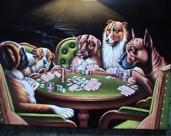 Dogs Playing poker black velvet oil painting handpainted signed art