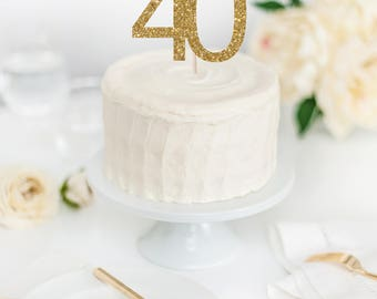 Hello 40 Cake Topper - 40th Birthday Cake Topper - Glitter Cake Topper - Custom Age Cake Topper - 40th Birthday Decor - Hello Forty