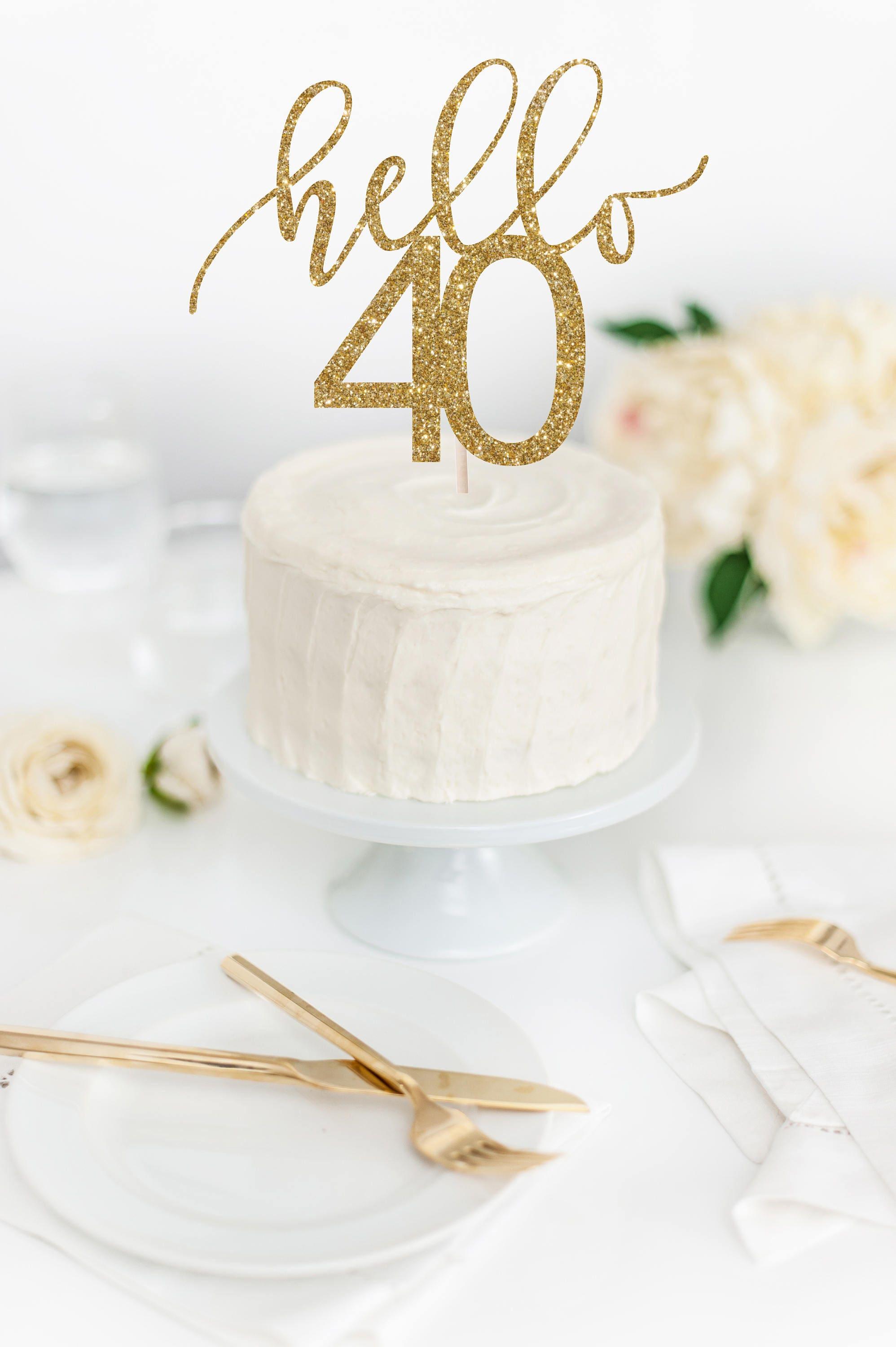 Hello 40 Cake Topper 40th Birthday Cake Topper Glitter