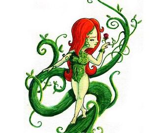 Poison Ivy Fan Art Watercolor Print